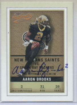 2002 Fleer Authentix #31 Aaron Brooks Autographed Card with COA from Players Inc.