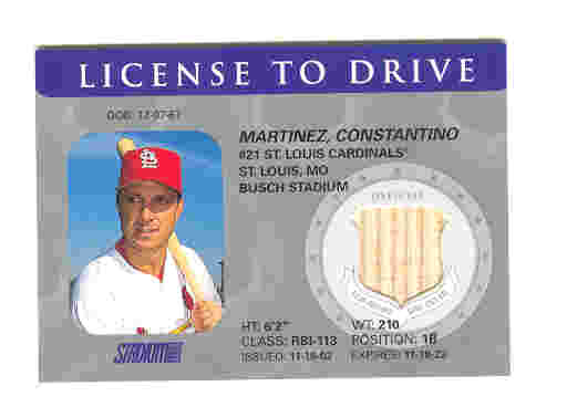 2003 Stadium Club License to Drive Game Used Bat Tino Martinez Cardinals