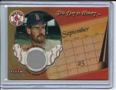 2002 Fleer Tradition Update This Day In History Game Used #3 Wade Boggs Jsy