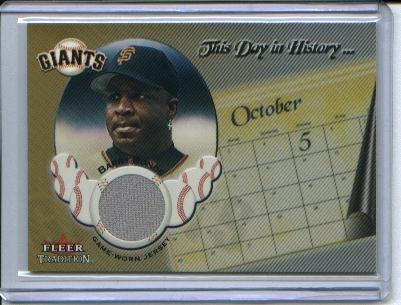 2002 Fleer Tradition Update This Day In History Game Used #6 Barry Bonds Jsy