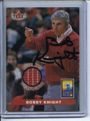 Bobby Knight Autograph Fleer Authentic Memorabilia Shirt Card