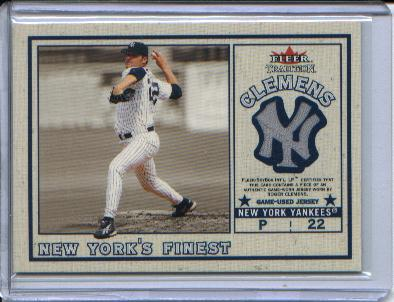 2002 Fleer Tradition Update New York's Finest Single Swatch #3 R.Clemens Jsy/Piazza