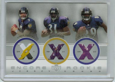 2000 Upper Deck Encore Rookie Combo Jerseys #RC7 Travis Taylor/Jamal Lewis/Chris Redman