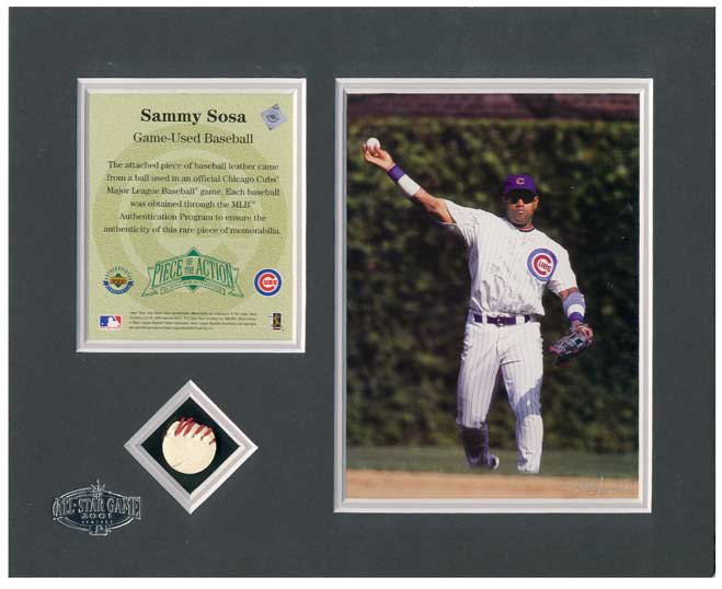 2001 All-Star Game Chicago Cubs Sammy Sosa UDA Piece of the Action Matted 8x10 with Game Used Baseball Piece, #/250 *** In Stock ***