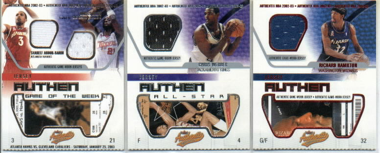 2002-03 Fleer Authentix Jersey Authentix #30 Richard Hamilton