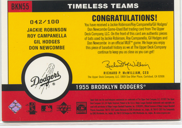 2001 Upper Deck Vintage Timeless Teams Combos #BKN55 1955 Dodgers