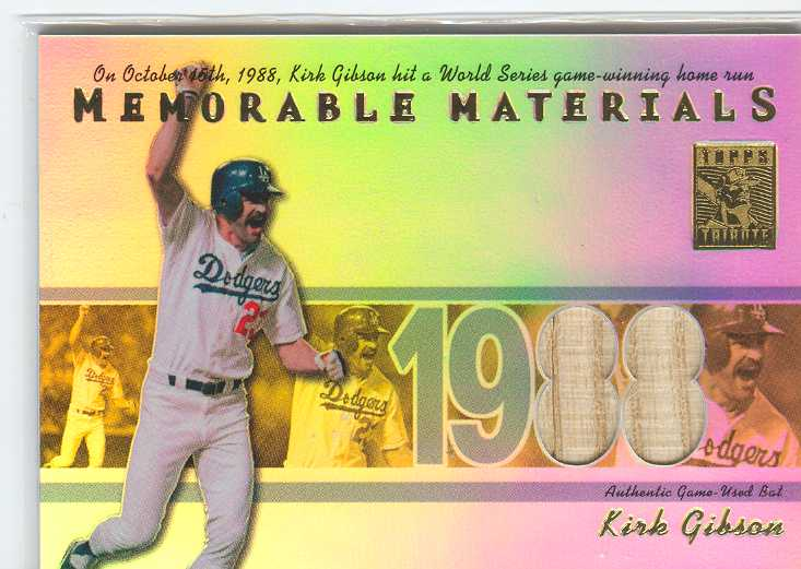 2002 Topps Tribute Memorable Materials #KG Kirk Gibson Bat B