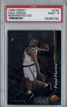 1998/99 Topps Finest Basketball #235 Paul Pierce No-Pro ROOKIE PSA Mint 9 Boston CELTICS NICE!!!!