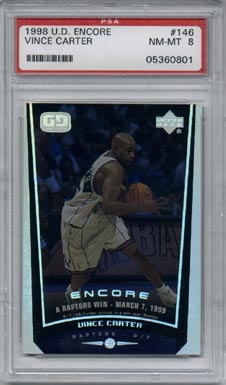 1998/99 Upper Deck Encore Basketball #146Vince Carter Bonus Rookie Year PSA 8 NICE!!