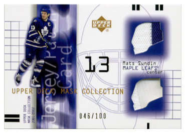 2001-02 UD Mask Collection Jersey and Patch #JPMS Mats Sundin