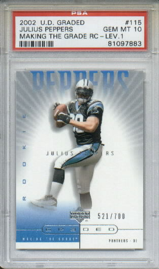 2002 UD Graded #115 Julius Peppers A RC