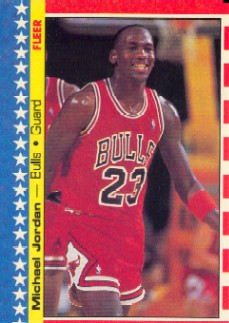 1987-88 Fleer Stickers #2 Michael Jordan/(In text, votes misspelled as voites) front image