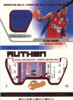 2002-03 Fleer Authentix Jersey Authentix Unripped #10 Elton Brand