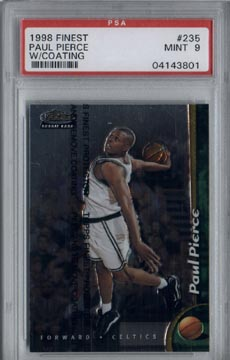 1998/99 Topps Finest Basketball #235 Paul Pierce Boston CELTICS ROOKIE PSA MINT 9 BEAUTIFUL!!