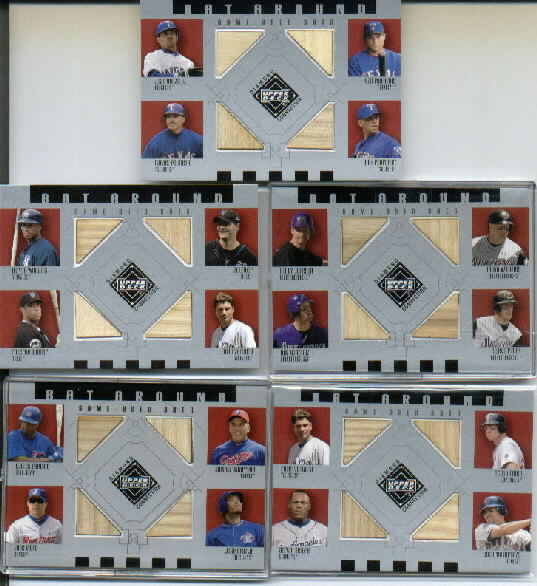 2002 Upper Deck Diamond Connection Bat Around Quads #VRBA Vent/Rolen/Beltre/Alfon