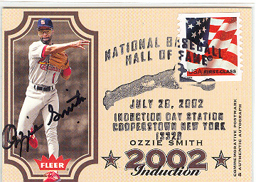 2003 Flair Greats Hall of Fame Postmark #2 Ozzie Smith AU/202