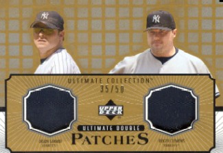 2002 Ultimate Collection Patch Card Double Gold #GC Jason Giambi/Roger Clemens