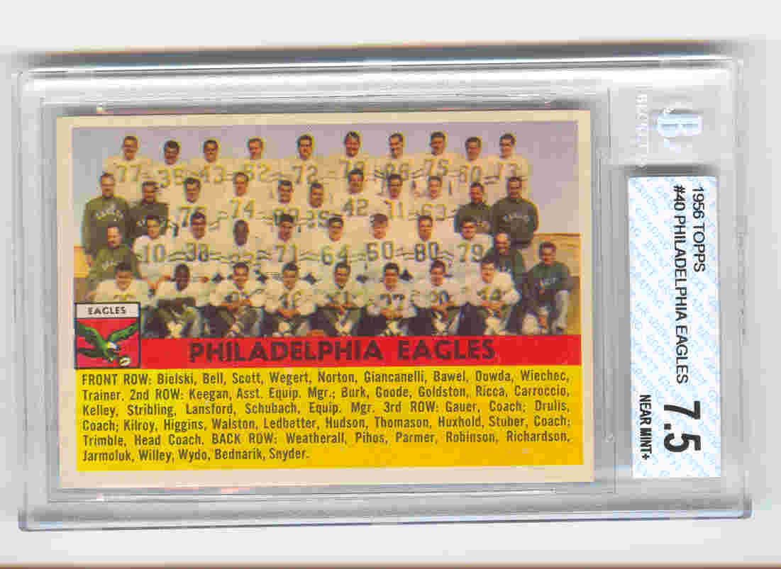 1956 Topps #40 Philadelphia Eagles front image