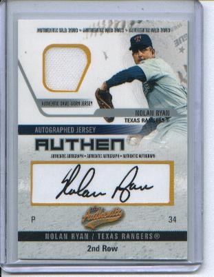 Nolan Ryan 2003 Fleer Authentix Autograph Authentic Game Worn Jersey Card #92/200 !