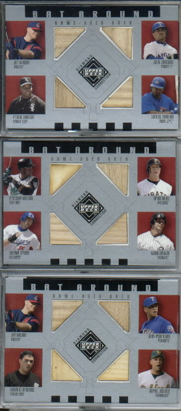 2002 Upper Deck Diamond Connection Bat Around Quads #TGTD Thome/Gonz/Thom/Delg