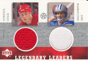 2002-03 UD SuperStars Legendary Leaders Dual Jersey * #SYJH Steve Yzerman/Joey Harrington          