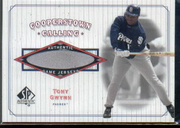 2001 SP Authentic Cooperstown Calling Game Jersey #CCTG Tony Gwynn