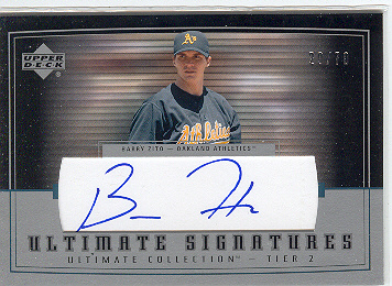 2002 Ultimate Collection Signatures Tier 2 #BZ2 Barry Zito/70