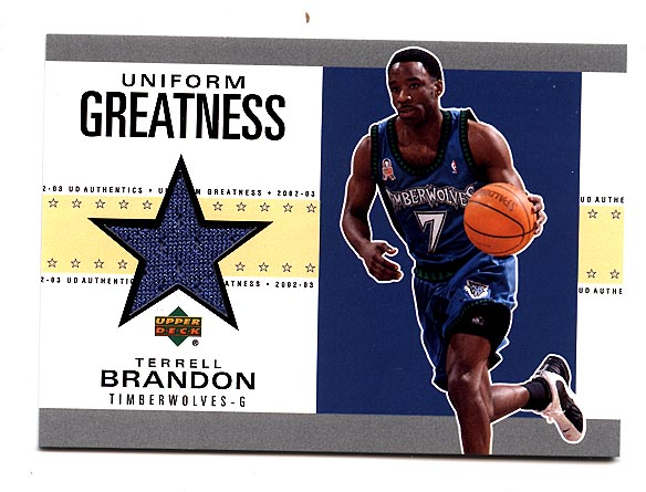 2002-03 UD Authentics Uniform Greatness #TBU Terrell Brandon