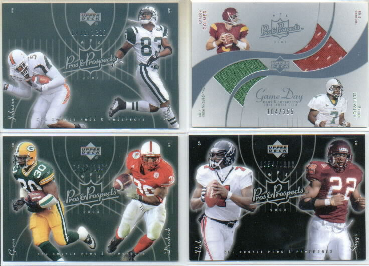 2003 Upper Deck Pros and Prospects Game Day Jersey Duals #DJCPL Carson Palmer/Byron Leftwich/255