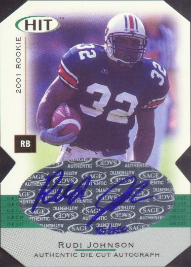 2001 SAGE HIT Autographs Die Cuts #A32 Rudi Johnson