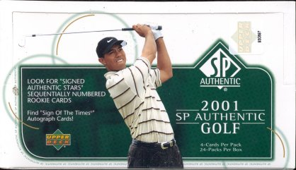 2001 Upper Deck SP Authentic Golf Factory Sealed Hobby Box With 2 Autograph Cards & 1 Memorabilia Card Per Box On Avg. & Possible Tiger Woods Autograph Rookie Card - In Stock Now