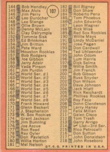 1969 Topps #107A Checklist 2 Bob Gibson ERR 161 is Jim Purdin