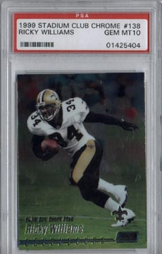 1999 Stadium Club Chrome Football #138 Ricky Williams 1999 Draft Pick ROOKIE PSA GEM MINT 10 SAINTS!
