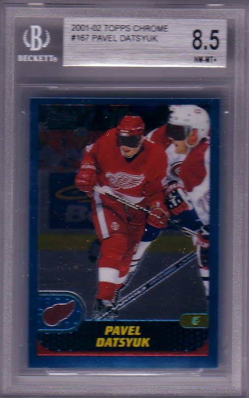 2001-02 Topps Chrome Pavel Datsyuk RC Rookie BGS-8.5 NM/MT+ Detroit Red Wings