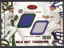 2002 Hot Prospects MLB Red Hot Tandems #CPNJ Carlos Pena Jsy/Nick Johnson Jsy