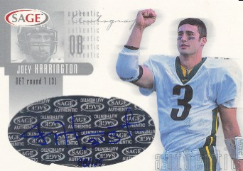 2002 SAGE Autographs Silver #A18 Joey Harrington/125