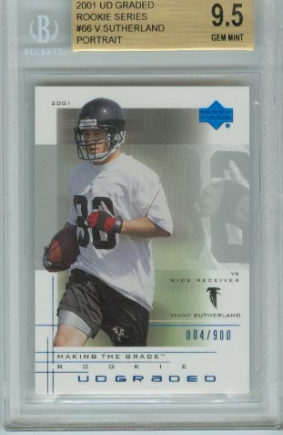 2001 UD Graded Rookie Series  #66 Vinny Sutherland Portrait BGS Graded 9.5 Gem Mint  #d 004/900