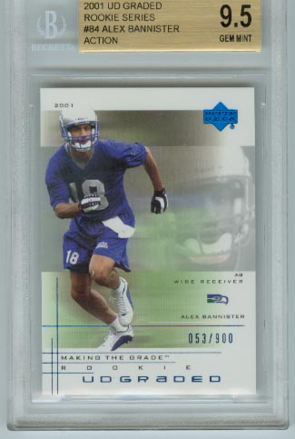 2001 UD Graded Rookie Series  #84 Alex Bannister Action BGS Graded 9.5 Gem Mint #d 053/900