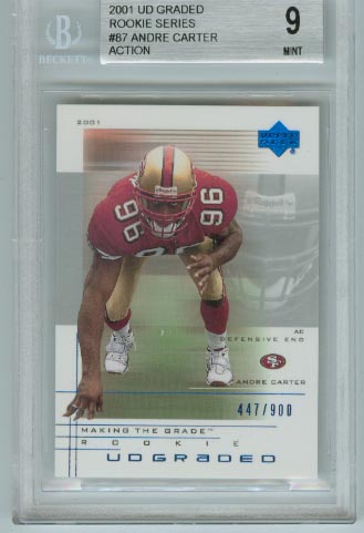 2001 UD Graded Rookie Series  #87 Andre Carter Action BGS Graded 9 Mint  #d 447/900