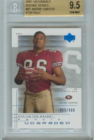2001 UD Graded Rookie Series  #87 Andre Carter Portrait BGS Graded 9.5 Gem Mint  #d 425/900