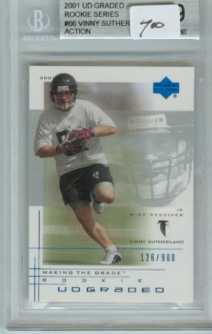 2001 UD Graded Rookie Series  #66  Vinny Sutherland Action  BGS Graded 9 Mint  #d 126/900