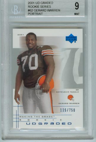 2001 UD Graded Rookie Series  #62 Gerard Warren Portrait  BGS Graded 9 Mint  #d 115/750