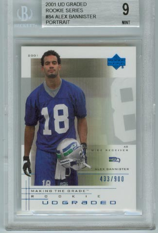 2001 UD Graded Rookie Series  #84 Alex Bannister Portrait  BGS Graded 9 Mint  #d 433/900