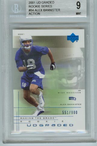 2001 UD Graded Rookie Series  #84 Alex Bannister Action  BGS Graded 9 Mint  #d 551/900