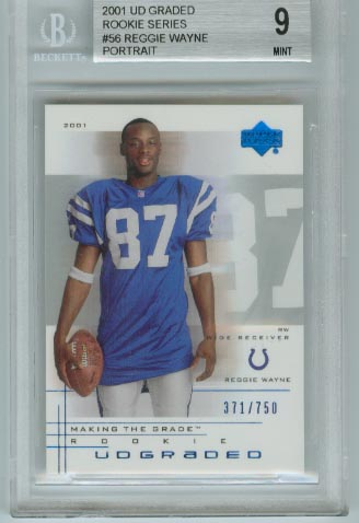 2001 UD Graded Rookie Series  #56 Reggie Wayne Portrait  BGS Graded 9 Mint  #d 371/750