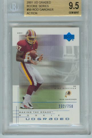 2001 UD Graded Rookie Series  #59 Rod Gardner Action  BGS Graded 9.5 Gem Mint  #d 232/750