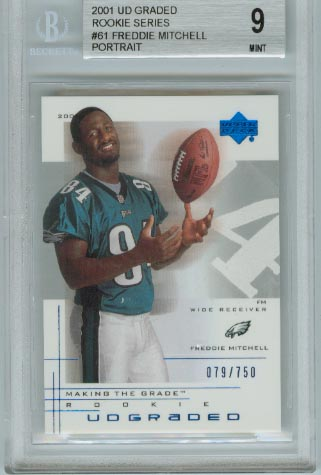 2001 UD Graded Rookie Series  #61 Freddie Mitchell Portrait  BGS Graded 9 Mint  #d 079/750