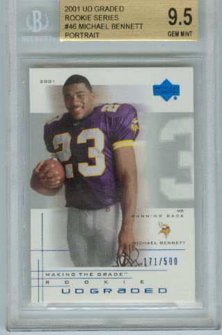 2001 UD Graded Rookie Series  #46 Michael Bennett Portrait  BGS Graded 9.5 Gem Mint  #d 171/500