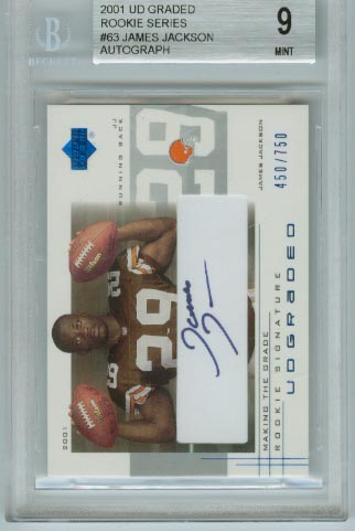 2001 UD Graded Rookie Series  #63 James Jackson Autograph  BGS Graded 9 Mint  #d 450/750