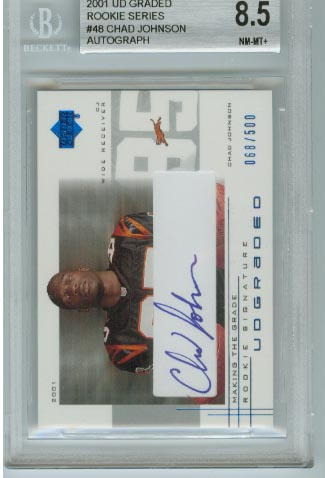 2001 UD Graded Rookie Series  #48 Chad Johnson Autograph  BGS Graded 8.5 NM-MT+  #d 068/500